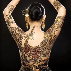 #japanese #henna #peacock #gold