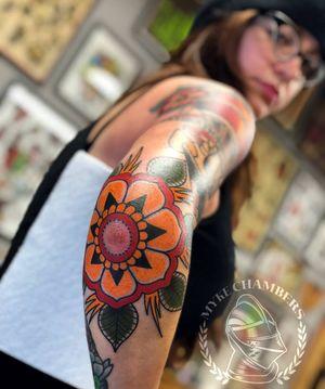 Solid flower on the elbow #MykeChambers #SSTC #SevenSwordsTattooCompany #Philly #WeAreSorryMom #SorryMomUSA #SorryMom