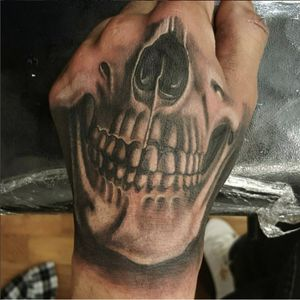 Skull mask! Done by KRYS MORE at our Wash Heights studio! #inkflow #heightstattoo #skulltattoo #skull #hand #blackandgrey #skullmask