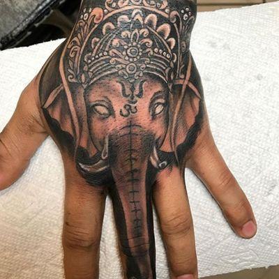 Ganesha hand tattoo #blackandgrey #ganesha #elephant #hindu #religion #hand #torrestattoo #ny