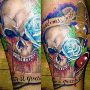 This skull bleeds leg tattoo by Peter Cavorsi 😍😍😍 # ny #brooklyn #skulls #inkedmen ##nyc #bodyartstudios #color #sleeve #skulltattoo #skull #bleeding