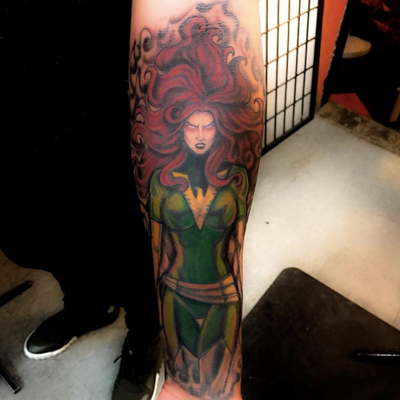 Phoenix in progress, one session left by Jolie Matthews. WALKINS WELCOMED 7-Days 12-12 #xmen #marvel #marvelcomics #girlswithtattoos #superhero #tattooartist #comics #JolieMatthews #crazymonkeytattoos