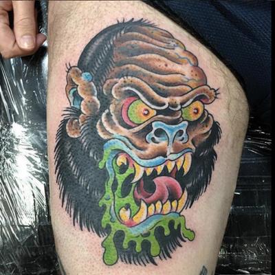 Tattoo by Nick Arena #gorilla #sasquatch #angry #gorillahead #nickarena #devilsrosetattoo