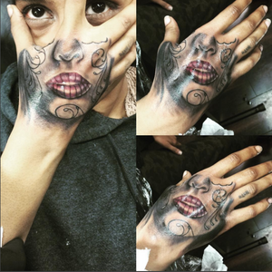 Today's project #handtattoo #hand #lips #mouth #face #redlips #blackandgrey #infamousbodyink