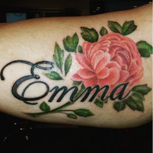 Peony! Done by INK FLOW Tattoos artist uptowntatking  #inkflowwork #peony #flower #floral #inkflowtattoos #lettering