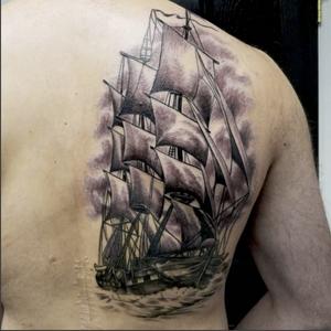 He was a bleeder. #stevink #inklife #inklifeindustries #schooner #vintagesailboat #vintageschoonertattoo #yonkers #blackandgreytattoo #blackandgrey