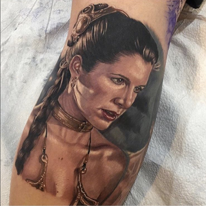 RIP tattoo by Mike Carro #starwars #princessleia #mikecarro #undeadink #undeadinkny #rip #movie #character