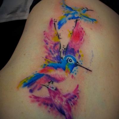 A little hummingbird watercolor #watercolortattoos #classacttattoostudio #tattoos #colorfulink #hummingbird