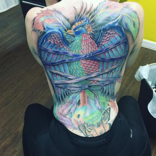 Phoenix back piece #back #backpiece #zeustattoos #ny #bronx #phoenix