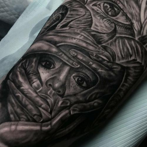 Black and grey tattoo by Tattoo Society #girl #cover #hiding #hands #tattoosociety