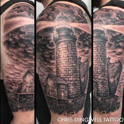 Beautiful lighthouse black and grey tattoo #lighthouse #blackngrey #blackandgrey #chrisdingwell
