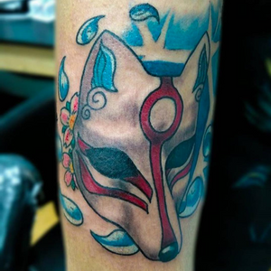 Fox mask tattoo by deanna_tattoos #okami #mask #color #anime #tattoos #art #bodymods #bodyart #ink #stencilstuff #truetubes #truegrips #cheyennehawk #cheyennetattooequipment #pokemontattoo #neotraditional #fusionink #fkirons #gamerink #hushanesthetic #vgta2 #tattooedgirls #sunnysidetattoo #queens