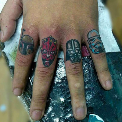 Finger tattoos by bad_cappin #deathstartattoos #starwars #jabbathehutt #bobbafett #stormtrooper #yoda #hansolo #darthvader #tiefighter #truegrips #cheyennehawk #cheyennetattooequipment #color #portrait #neotraditional #fusionink #sunnysidetattoo