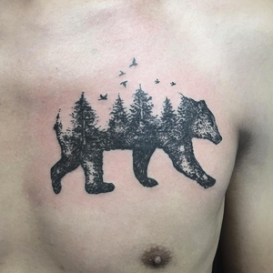 Abstract bear tattoo #nature #bear #landscape #trees #birds #creative #abstract