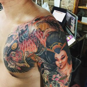 Tattoo by Aaron Zhang. #onitattoo #ink #chinese #chinesetattoo #art #drawing #williamsburg #bushwick #brooklyn #inked #nytattoo #traditional #customizetattoo #inkedup #japanesetattoo #newschool #fashion #bodyart #vegantattoo