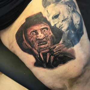 Freddy by Jesse #caponesink #tattoosbyjessegoldup #freddy #freddykrueger #baltimoretattooartist #dmvtattoos #blackngray #artist #art #photorealism