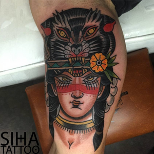 Cover up tattoo at Siha Tattoo Bcn #coverup #traditional #potrait #wolf