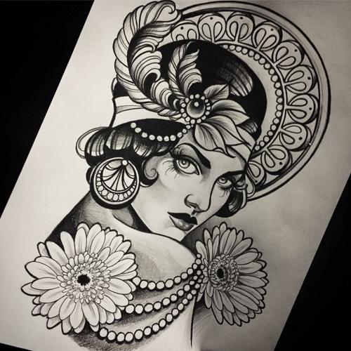 Beautiful lady drawing by Ma Reeni #lady #blackwork #drawing #gatsbystyle