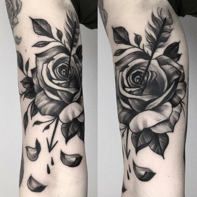 Rose blackwork by elapour #rose #flower #floral #arrow