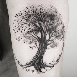 Tree tattoo by Katrin, crockat #tree #blackwork #circle #geometric
