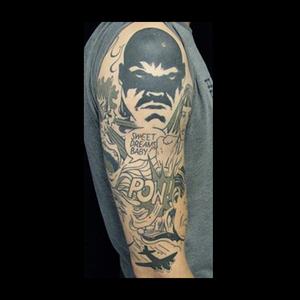 Comic blackwork tattoo #comic #comicheroes #pow #lettering