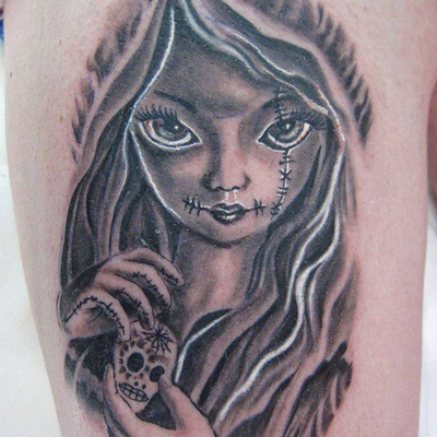 """Angel is guesting from now on, as long as he´ll stay in Berlin at """"Black Cat Tattoo Berlin"""" #portrait #blackwork #scary #lady #sugarskull #blackcattattooberlin"""