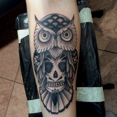 Blackwork owl and sugarskull #sugarskull #skull #owl #creative #blackwork