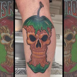 Freshly healed green version of Guns N' Roses Bad Apples💥 #gunsnroses #badapples #rocknrolltattoo #rocknroll #subepidermalentertainment