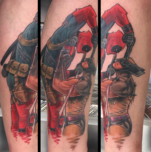 Super fun piece on a real cool guy, done with needles and the best ink possible @royaltattoodk last month💥Background to come at some stage. Art by @thetomvelez <--- #deadpool #wolverine #neverendingstory 👀 #royaltattoodk #subepidermalentertainment #gimmeabeer