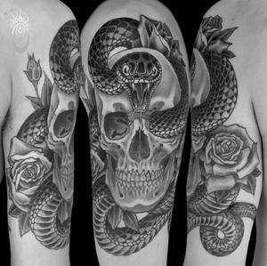 Finished skull and snake tattoo #tattoooftheday #skull #snake #blackandwhite