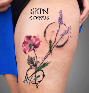 Flower watercolor tattoo #floral #botanical #watercolor #flower