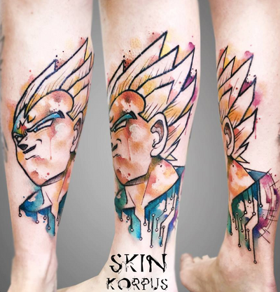Completed that Dragon Ball lower leg...How much do you like it? #dragonballz #vegetatattoo #dragonballtattoo#watercolortattoo #watercolourtattoo #skinkorpus #luxembourgtattoo #sorrymom #worldfamoustattooink #cheyennetattooequipment