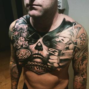 #aberdeentattoo #tattoosociety #casino #tattoorealistic #chesttattoo
