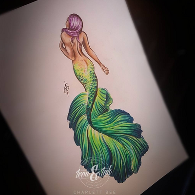 Design ready for skin😍 #charlettbeetattoo #custommade #charlettbee #colortattoo #ink #mermaid #pencildrawing #drawing #awesome #art