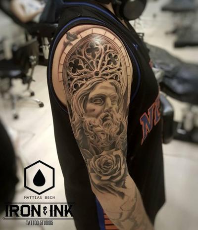 Jesus black and gray tattoo #jesus #blackandgray #mattiasbech