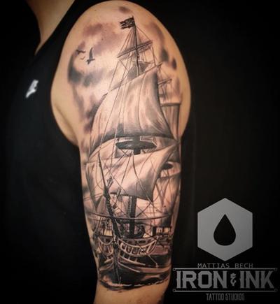 Black and Gray ship tattoo 😁 #blackandgray #ship #mattiasbech