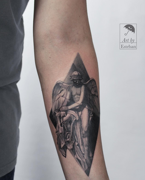 Statuesque Dark Angel for Ron. Thanks so much for the trust, and hope to see you soon. I'd love to do more work like this!  #angel #angeltattoo #angeltattoos #statue #blackworktattoo #blackwork #blackworkers #brooklyntattoo #brooklyntattooartist #greenpoint #nyc