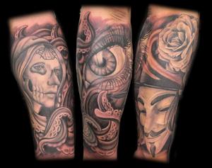 Black and gray #woman #portrait #eye #blackandgray #rose #mask