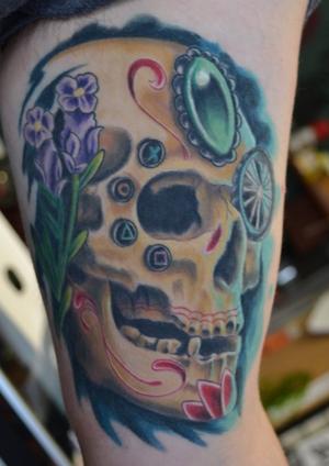 #skull #color #floral #diamond
