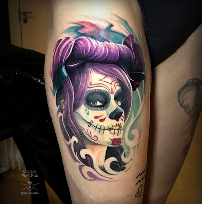 Catrina tattoo. The hair on top is fresh the rest is healed. Tattoo by @brunoperdiz_tattooartist #catrina #katrina #dayofthedead #diadelosmuertos #skullmakeup #catrinas #girltattoo #tattooedgirls #quantumink #dermalizepro #sublimevilla