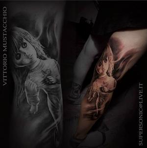 Done @hopegallerytattoo @joecapobiancotattoos ...#hustlebutterdeluxe #bulldogpro #dermalizepro #ipowertattoo #polynesianink #fortestancil #blackngrey #realistictattoo #doll #tattoos #tatts #blackandwhite @tattoodo @bnginksociety
