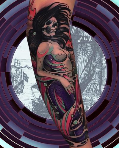 #neotraditional #mermaid done at #holdfasttattoostudio