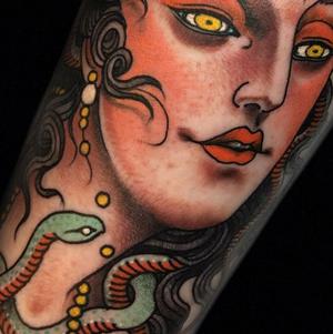 Girl tattoo by Claudia de Sabe #details #blackclaw #blackclawneedles #claudiadesabe #medusa #girltattoo #london #londontattooartist #decobococreatives