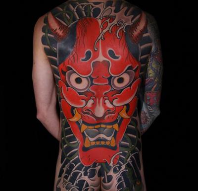 Japanese Hannya mask tattoo by Matthew Mooney #japanese #back #hannyamask #mask #MattherMooney