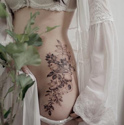 Flower tattoo by Zihwa Tattooer #floral #delicate #blackwork #zihwa #bird #flower #spring