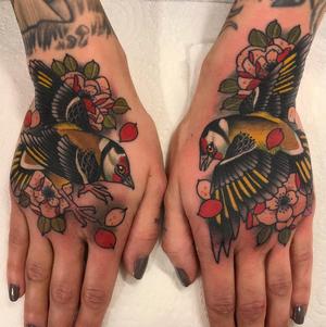 Neotraditional tattoo by Matt Adamson #floral #flower #bird #handtattoo #neotraditional