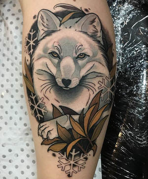 Snow Fox by Drew Shallis 🦊❄️#neotrad #ntgallery #neotradsub #neotraditional #thebesttattooartists #neotraditionals