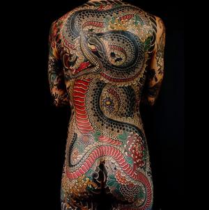 Japanese backpiece by Regino #snake #japanese