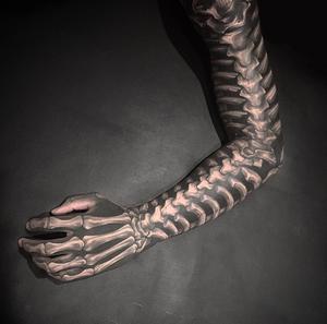 Black and grey tattoo by Gara #skeleton #blackandgrey #lighthouseprofessional