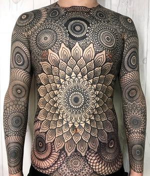 By Nissaco #geometric #bodysuit #manadala #linework